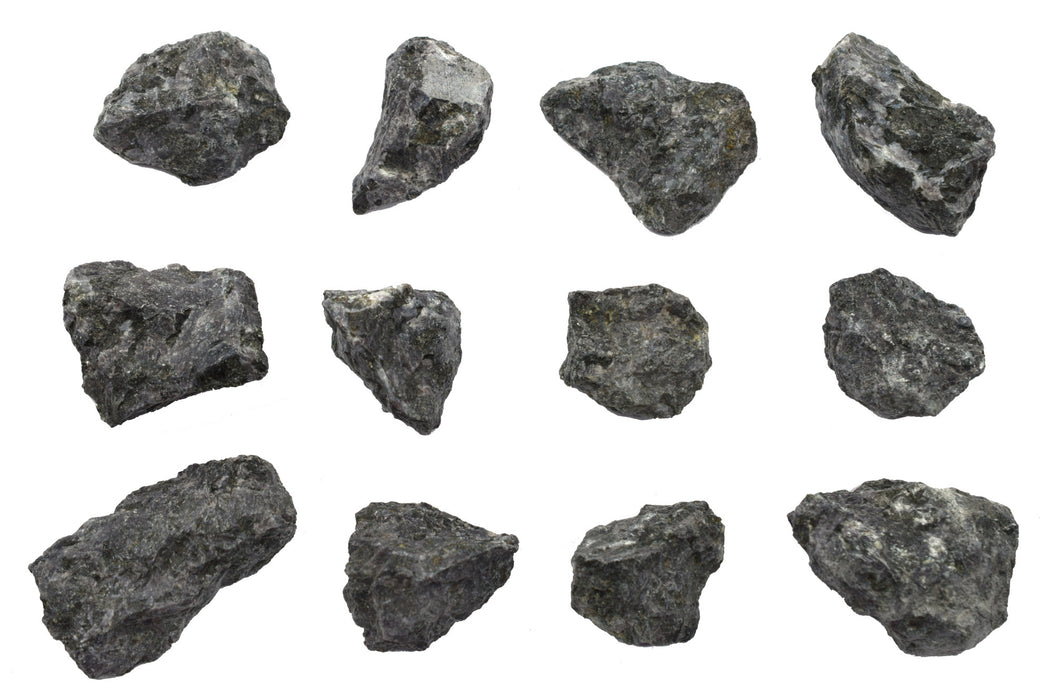 "12PK Raw Gabbro, Igneous Rock Specimens - Approx. 1"" - Geologist Selected & Hand Processed - Great for Science Classrooms - Class Pack - Eisco Labs"