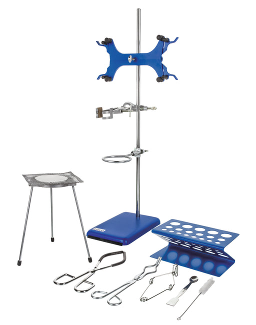 "Eisco Labs Research Grade Lab Starter Kit - Includes 24"" Rod, 8""x5"" Retort Base, Beaker Tongs, Crucible Tongs, Burette/Test Tube Clamp, Ring Stand (and more)"
