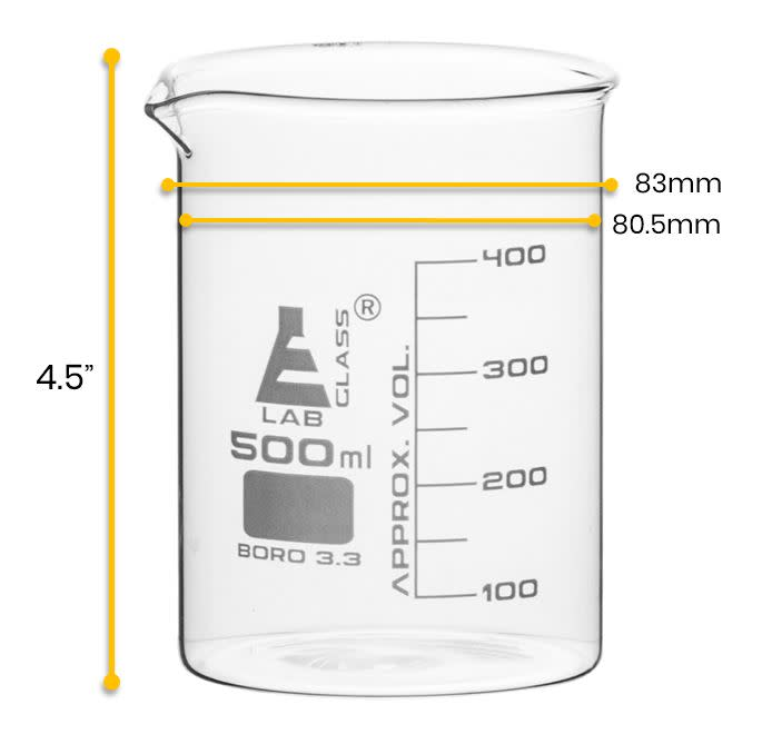 Beaker, 500ml - Low Form - 50ml Graduations - Borosilicate Glass - Eisco Labs