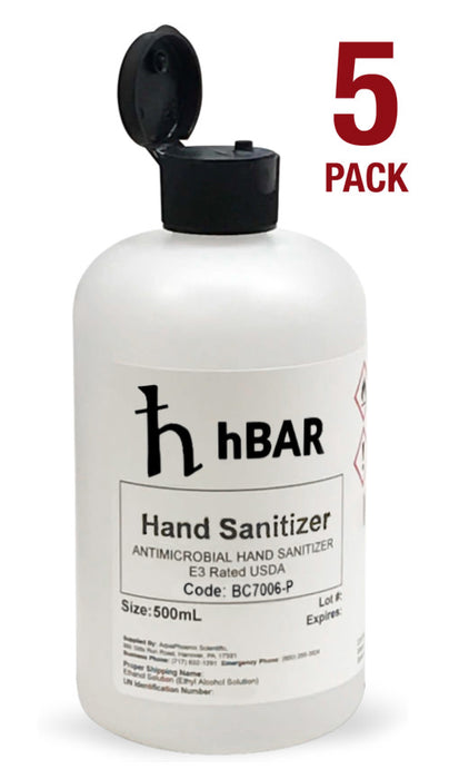 5PK Antimicrobial Hand Sanitizer, 500mL - No Rinse - Flip Cap
