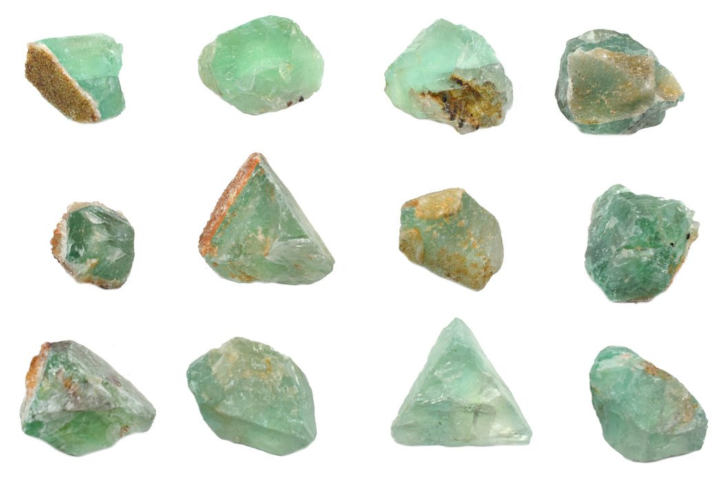 "12PK Raw Fluorite, Mineral Specimens - Approx. 1"" - Geologist Selected & Hand Processed - Great for Science Classrooms - Class Pack - Eisco Labs"