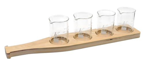 Beer Tasting Flight Tray - Beer Bottle Design, Wood - Includes 4, Borosilicate 3.3 Glass Beakers, (150ml) - Tray Paintable, Stainable - Designed & Cut in the USA - hBAR at Home Series