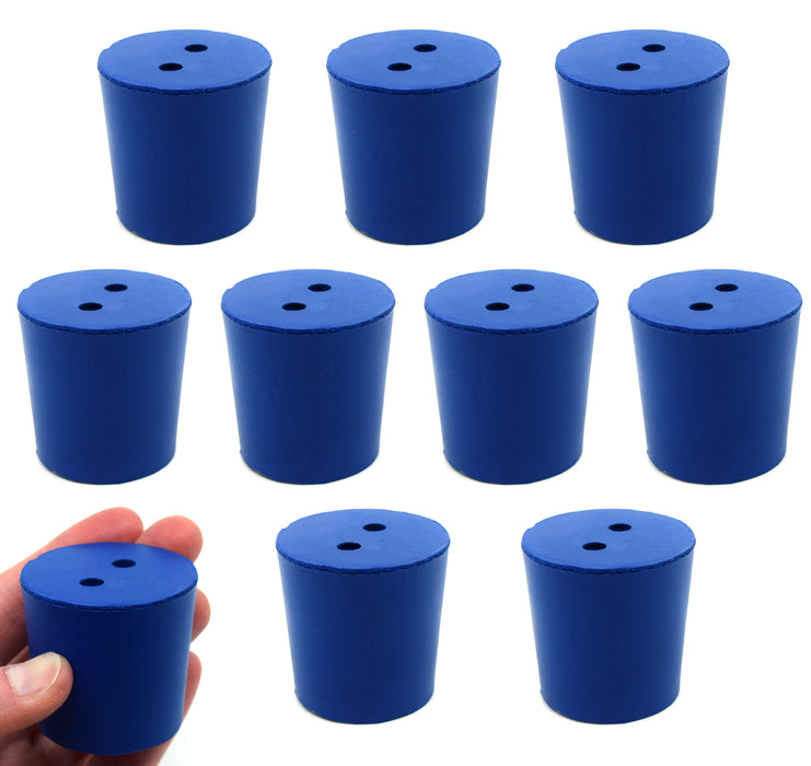 Neoprene Stopper, 2 Holes - Blue, Size: 38mm Bottom, 42mm Top, 40mm Length - Pack of 10