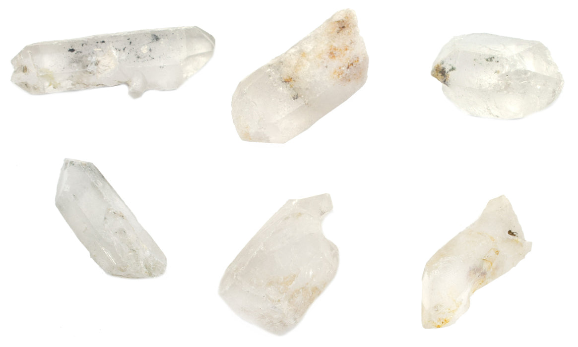 "6PK Raw Quartz, Mineral Specimen - Approx. 1""- Geologist Selected & Hand Processed - Great for Science Classrooms - Eisco Labs"