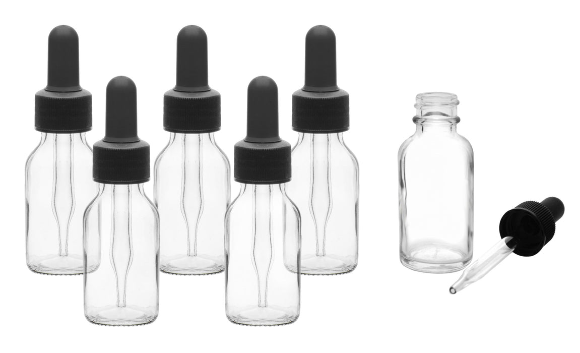 6PK Dropping Bottles, 30ml - Transparent - Screw Cap - Soda Glass