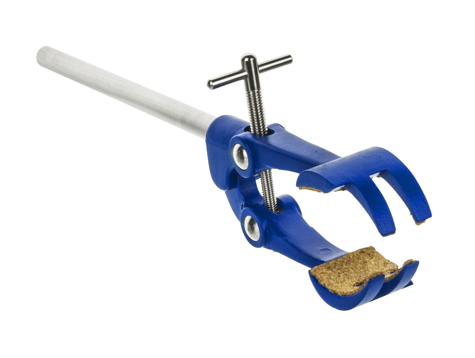 "4 Prong, Cork Lined Clamp on Stainless Steel Rod - 4.1"" Max Opening"