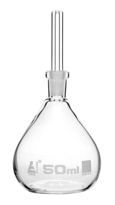 Specific Gravity Bottle, 50ml - Flat Bottom with Perforated Stopper - Borosilicate Glass - Eisco Labs