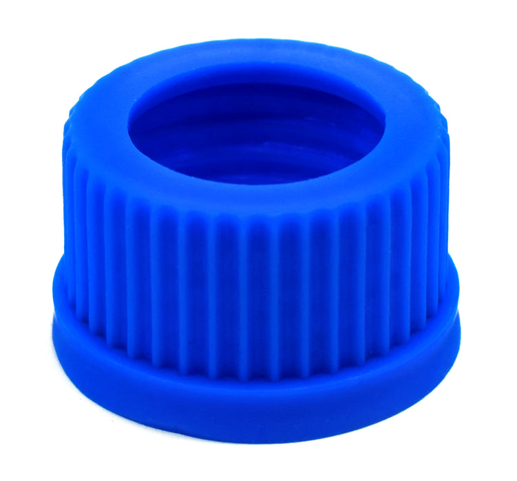 Pack of 5 Threaded Screw Caps, Open - Joint Size 24/29 - Plastic, Blue Color - Spare / Additional Part - Eisco Labs