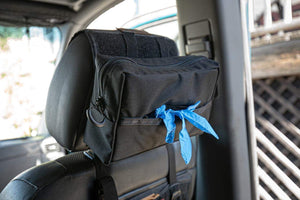 Glove Dispenser Pouch headrest with gloves- Blue Ridge Overland Gear