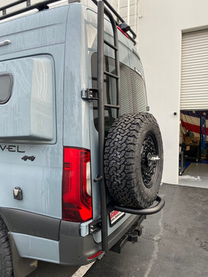 Owl Vans Ladder + Tire Carrier - Aluminum New Sprinter VS30 (2019+)