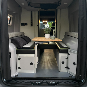 Canyon Adventure Vans The 2021 GLSS™ GARAGE LOUNGE STORAGE SYSTEM & DAY BED (made for the 2021 REVEL) Patent Pending