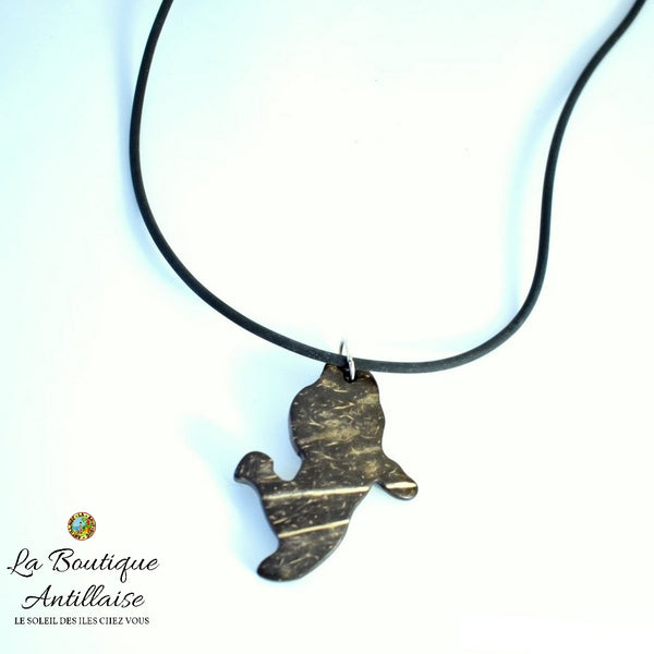 COLLIER EN COCO CARTE MARTINIQUE - La Boutique Antillaise