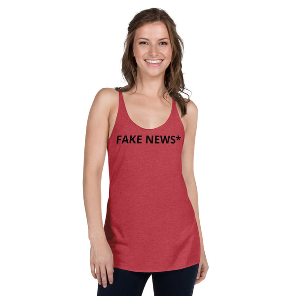 SEE BOTH SIDES--Fake News, They're New & They're Fake,  Women's Racerback Tank - SloppyOctopus.com