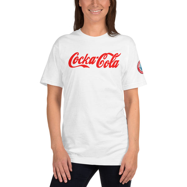 SEE BOTH SIDES--Cocka-Cola with Real Thingy on Back, White UnisexT-Shirt (also separately listed in red) BANNED-YOU CAN NOT BUY THIS - SloppyOctopus.com