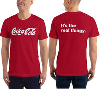 SEE BOTH SIDES--Not What You Think, Cocka-Cola with Real Thingy on Back, Red Unisex T-Shirt, BANNED- YOU CAN NOT BUY THIS - SloppyOctopus.com