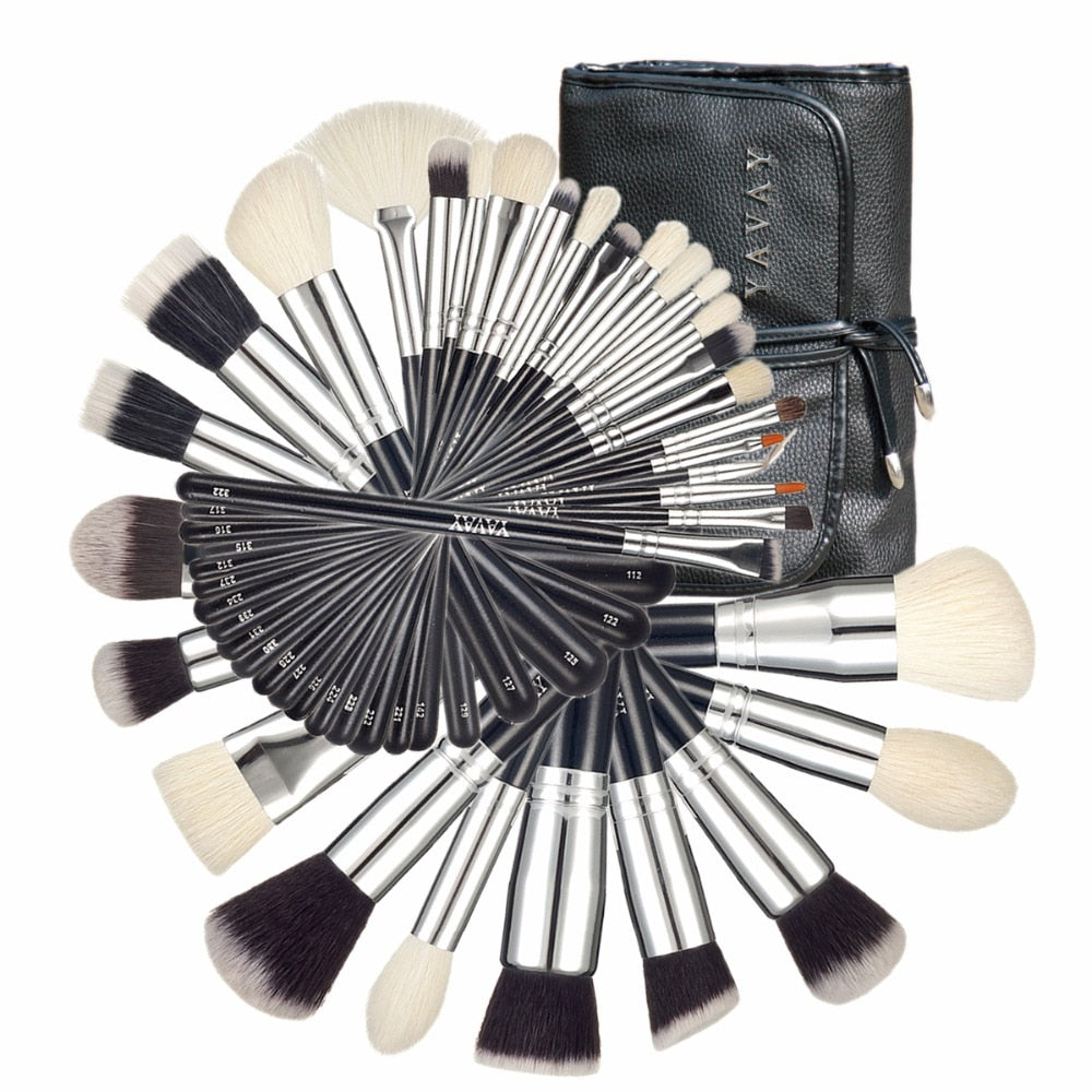 32pcs Professional Makeup Brush Set - Soft Taklon Goat Hair
