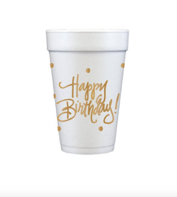 Happy Birthday Styrofoam Cups