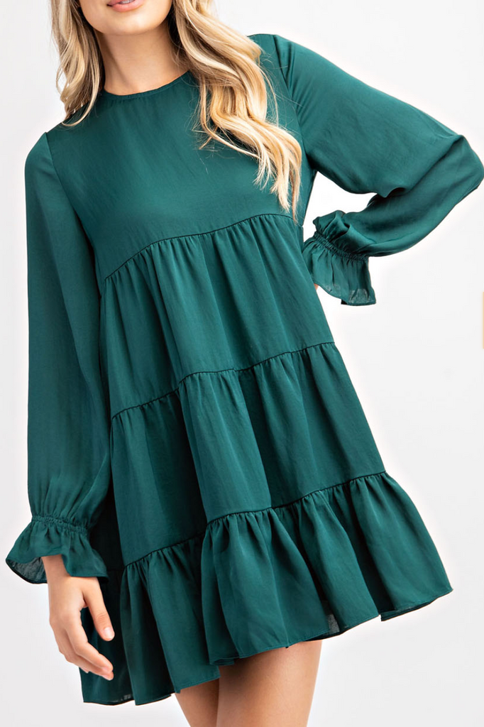Round Neck Ruffle Dress
