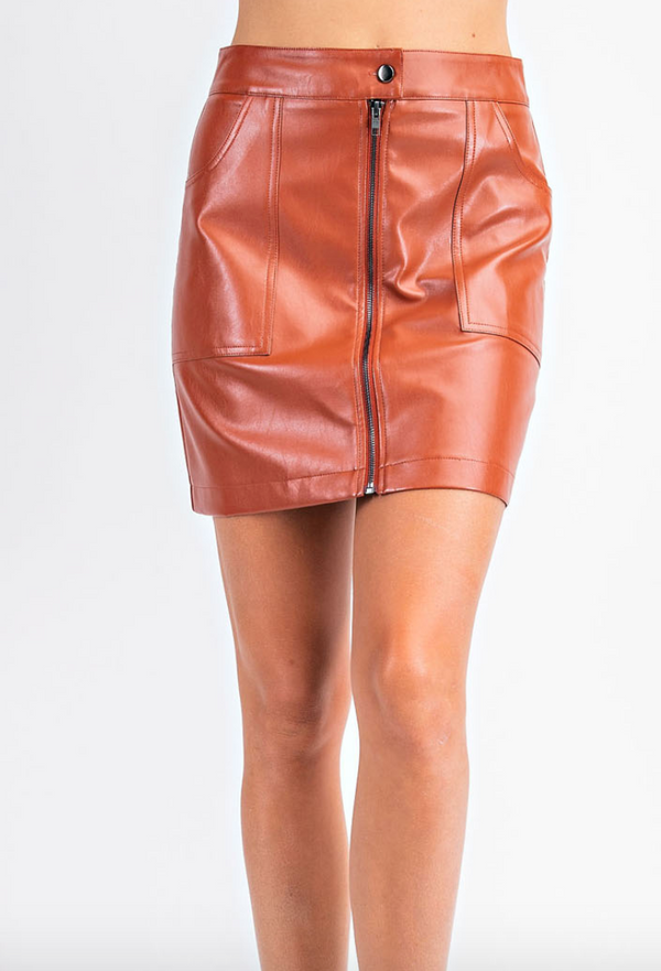 Pleather Zipper Skirt