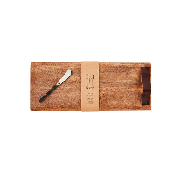 Wooden Cutting Board with Cheese Knife