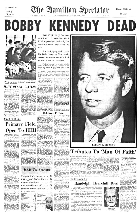 Image of June 6, 1968 - Bobby Kennedy Page Reprint