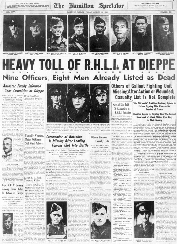 Image of Dieppe Raid, Full News - August 21, 1942 Page Reprint