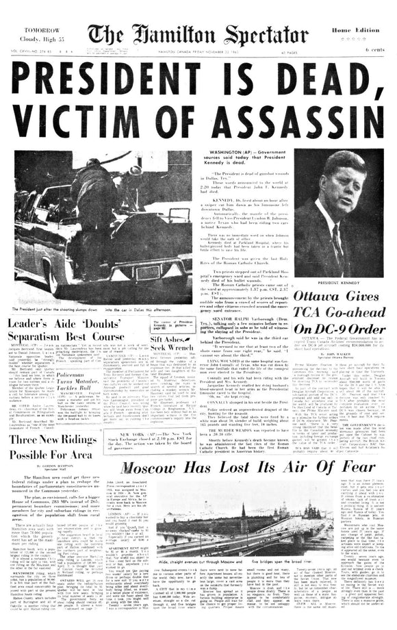 Image of November 22, 1963 - JFK Assassination Page Reprint