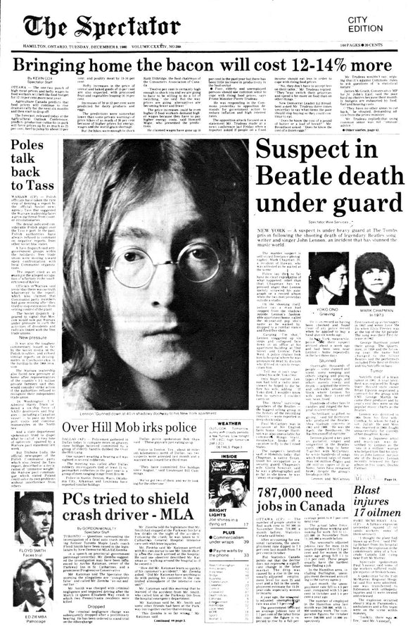 Image of December 9, 1980 - Lennon Assassination Page Reprint