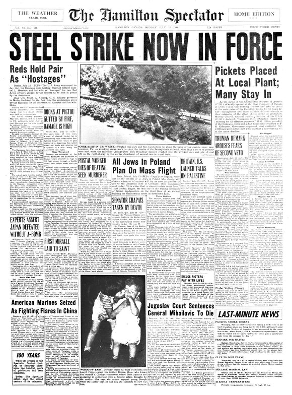 Image of July 15, 1946 - Stelco Strike Page Reprint
