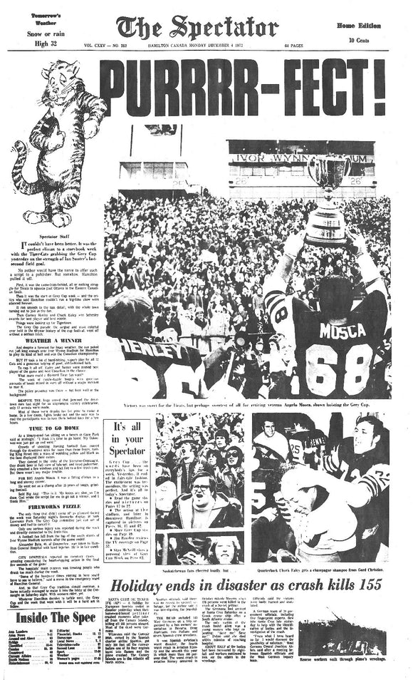 Image of December 4, 1972 - TiCats winning Grey Cup Page Reprint