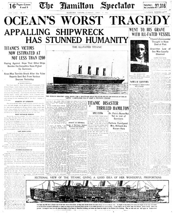 Image of April 14, 1912 - Titanic Page Reprint