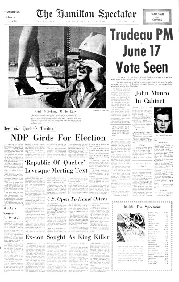 Image of April 20, 1968 - Trudeau elected PM Page Reprint