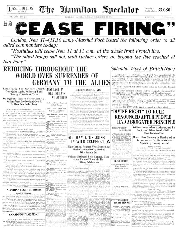 Image of November 11,1918 - WW I Ends Page Reprint