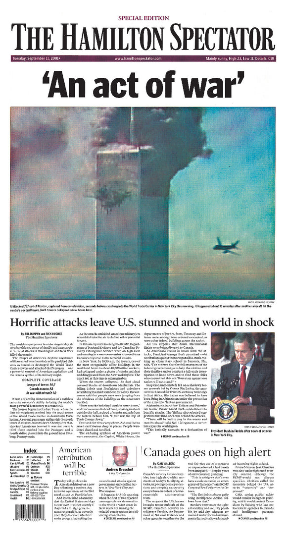Image of September 11, 2001 Page Reprint