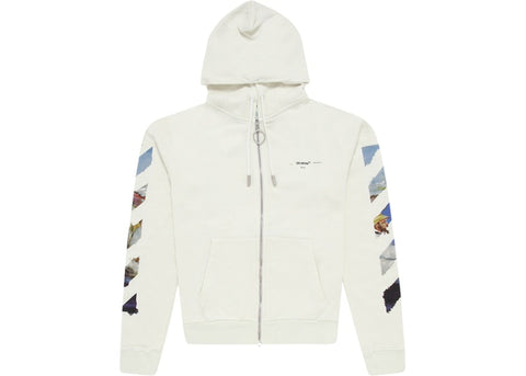 OFF-WHITE Diag Print Zip Up Hoodie White/Multicolor
