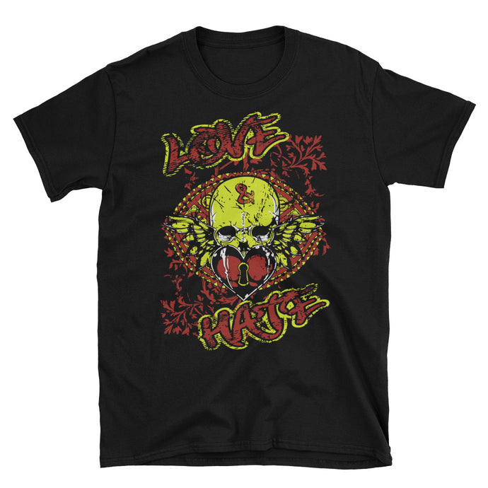 Love and Hate Skull Black Unisex T-Shirt
