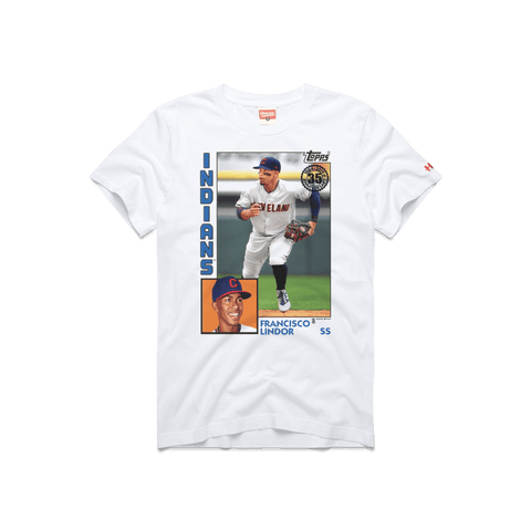 wholesale dealer a5cfa 5cdd5 Indians Lindor Mr. Smile Retro Cleveland MLB T-Shirt – HOMAGE