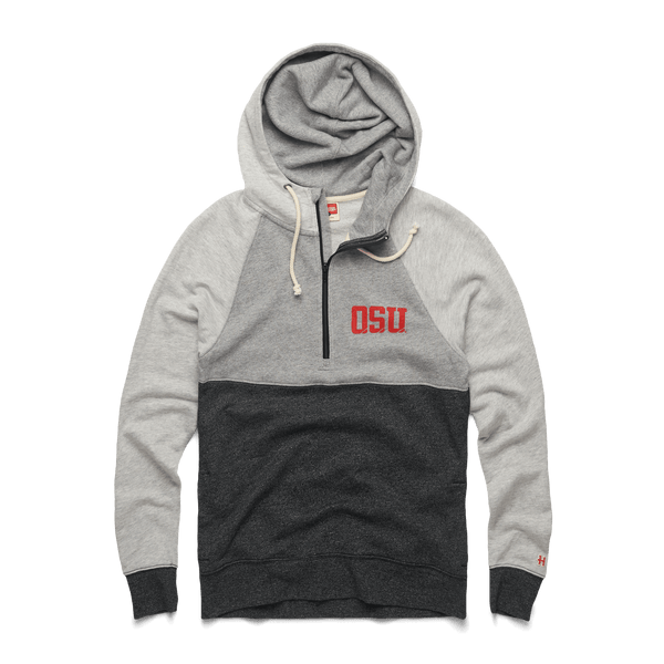 71484b2915e Block OSU Power Zip Ohio State Buckeyes Quarter Zip Hoodie – HOMAGE