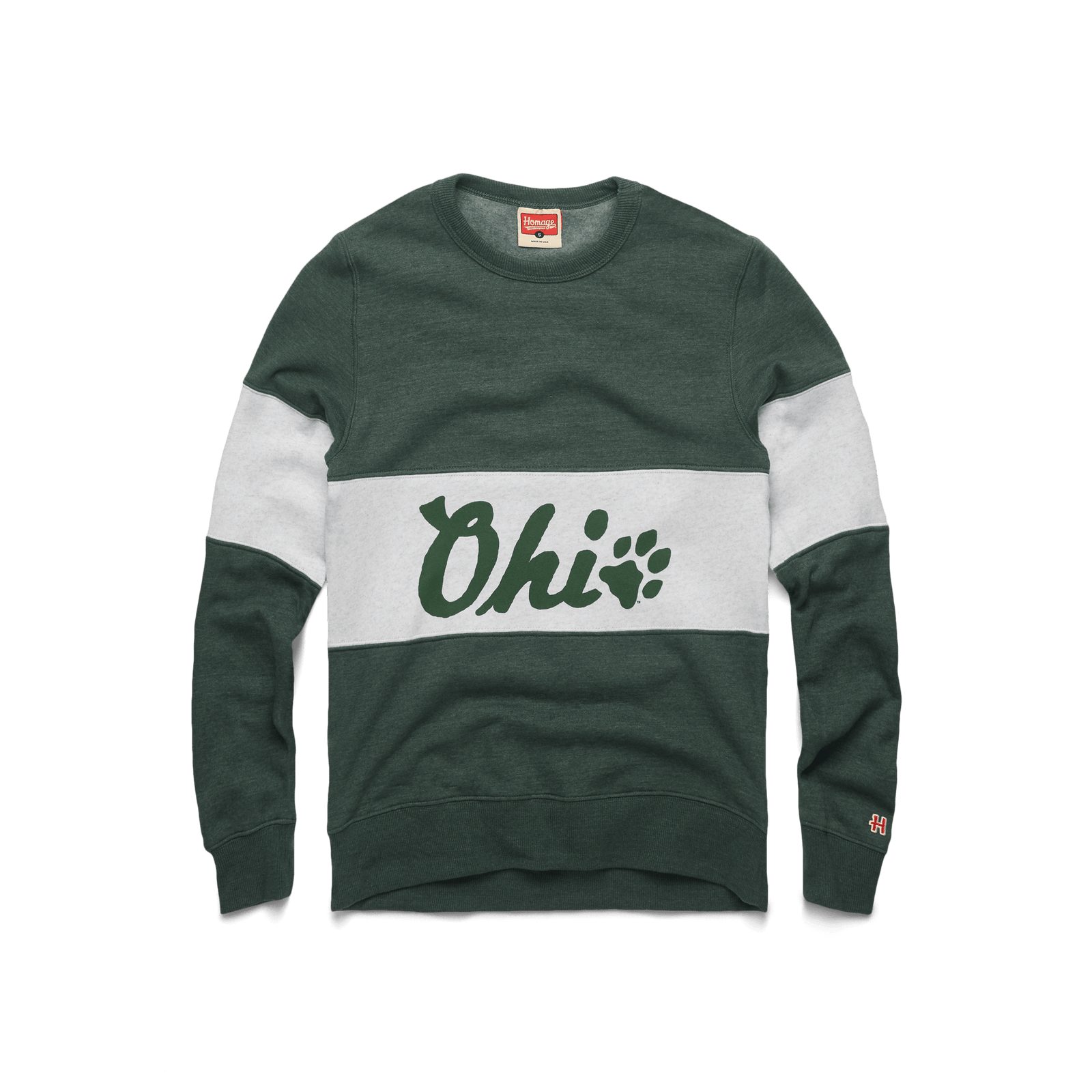 Ohio Pawprint Stripe Crewneck