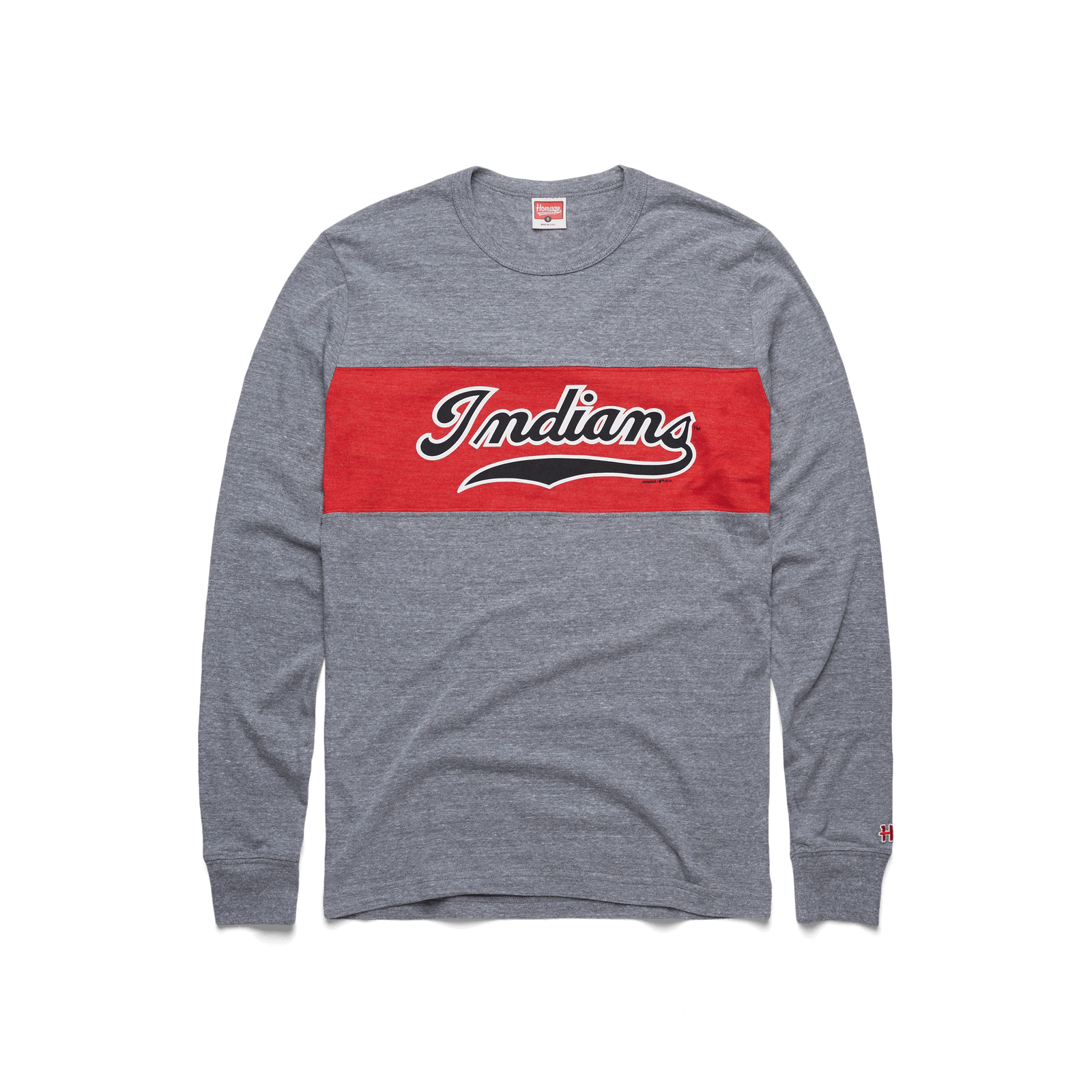 Script Indians Stripe Long Sleeve Tee