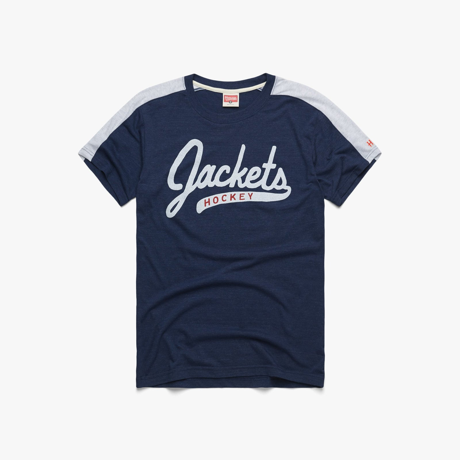 Script Jackets Hockey Shoulder Stripe Tee