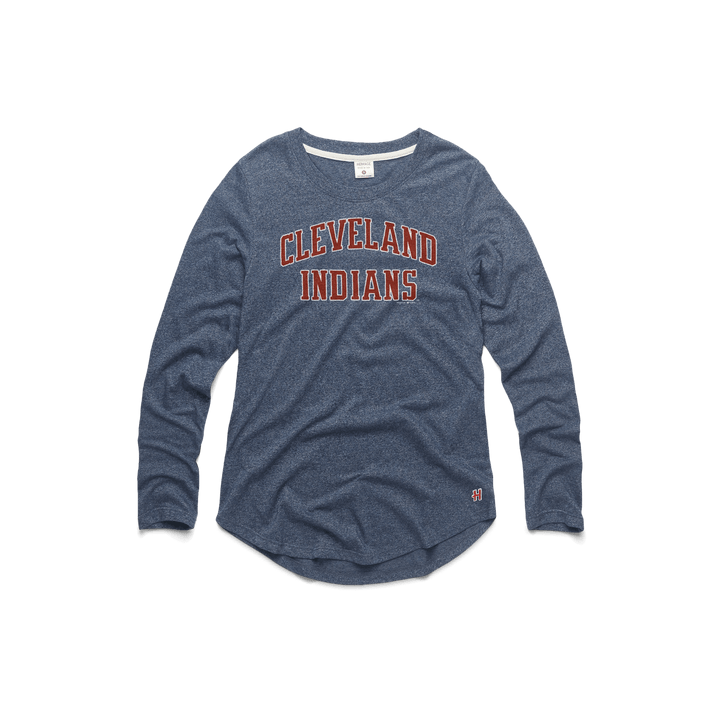 Women s Cleveland Indians Rally Drum Long Sleeve Tee MLB T-Shirt – HOMAGE 7ce79f620f