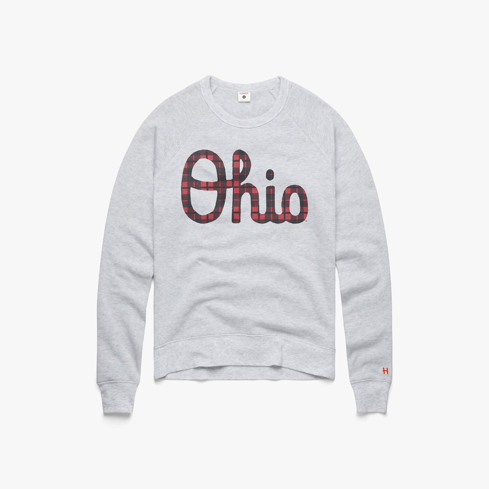 Women's Script Ohio Plaid Crewneck