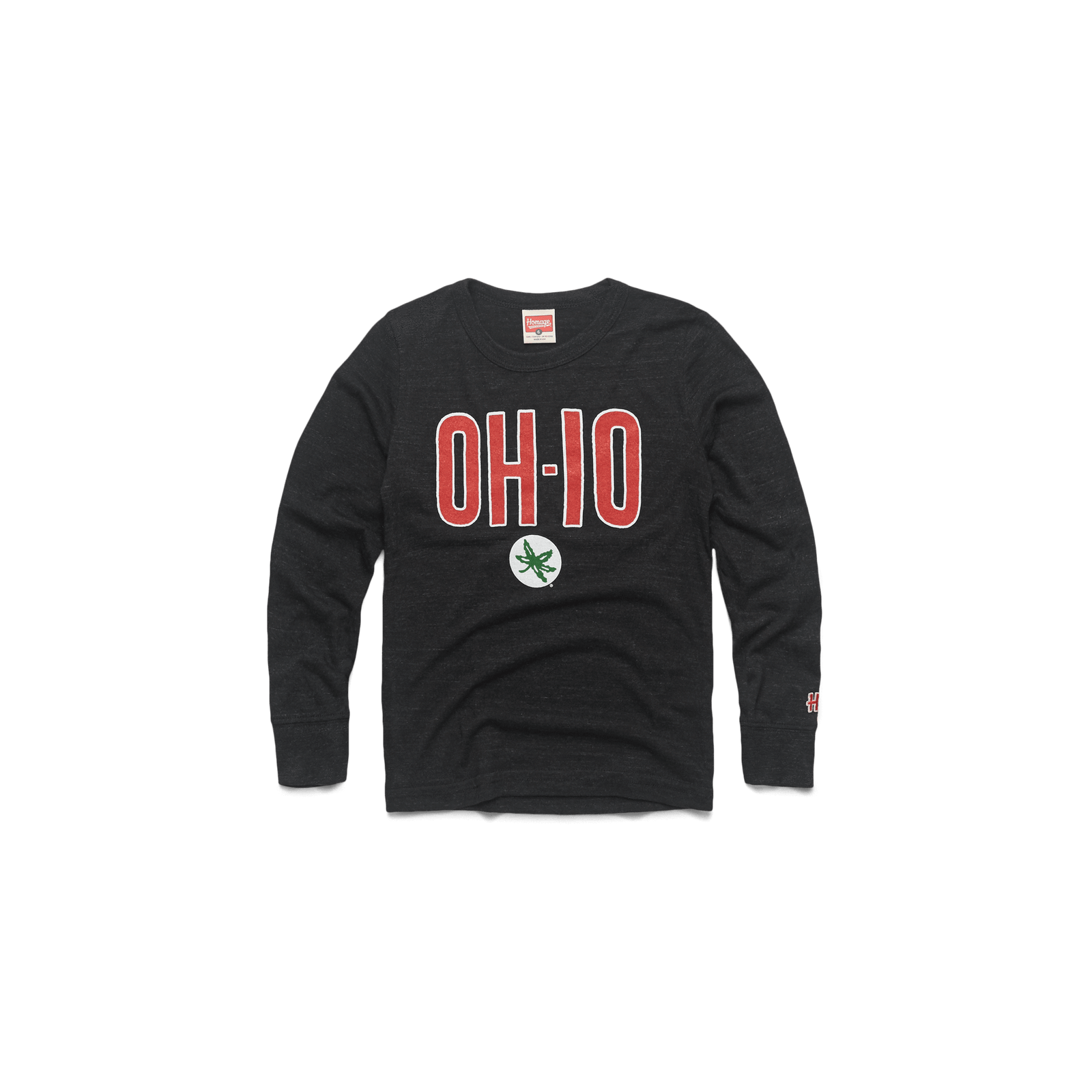 Youth OH-IO Buckeye Leaf Long Sleeve Tee