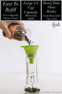 Home EC Salt and Pepper Grinder Set 4pk - Tall Salt and Pepper Grinder Set- Home EC
