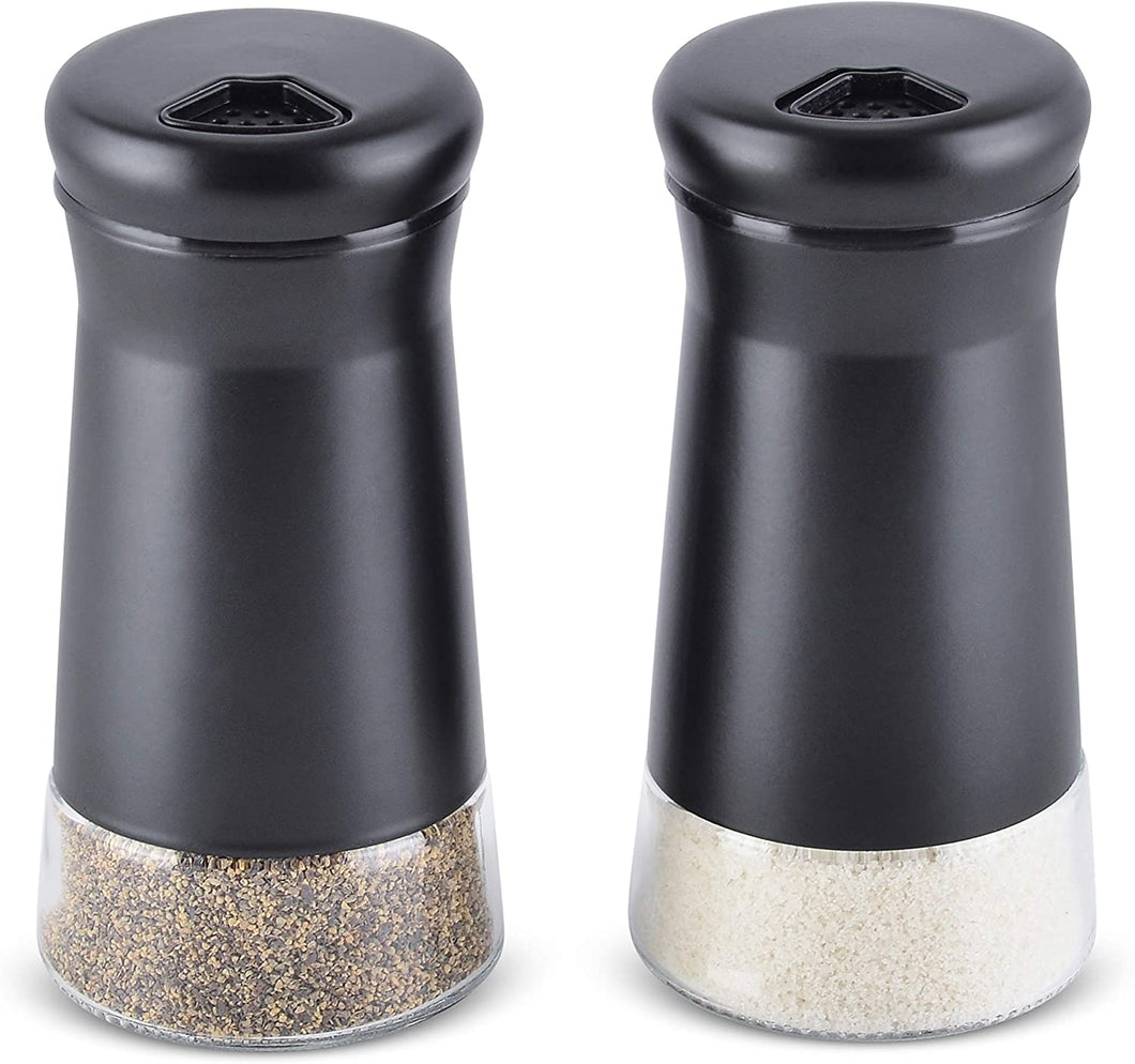 Home EC Salt and Pepper Shaker Set of 2 with Adjustable Pour Settings (black) - Home EC