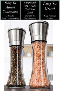 Home EC Salt and Pepper Grinder Set 2pk-Tall Salt and Pepper Grinder Set- Home EC