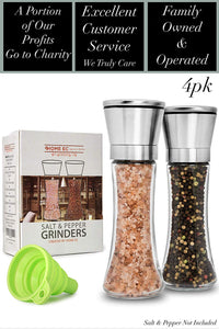 Salt and Pepper Grinder Set 4pk- Tall - ECBrandz