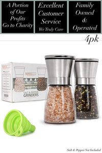 Home EC Salt and Pepper Grinder Set 4pk - Short - Home EC