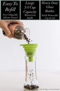 Home EC Salt and Pepper Grinder Set 2pk-Tall Salt and Pepper Grinder Set- ECBrandz